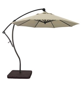 California Umbrella California Umbrella 9' Bayside Series Cantilever With Bronze Aluminum Pole Aluminum Ribs 360 Rotation Tilt Crank Lift With Pacifica Beige Fabric