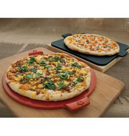 "Round Glazed Pizza Stone with Handles / 14.5"" - Red"