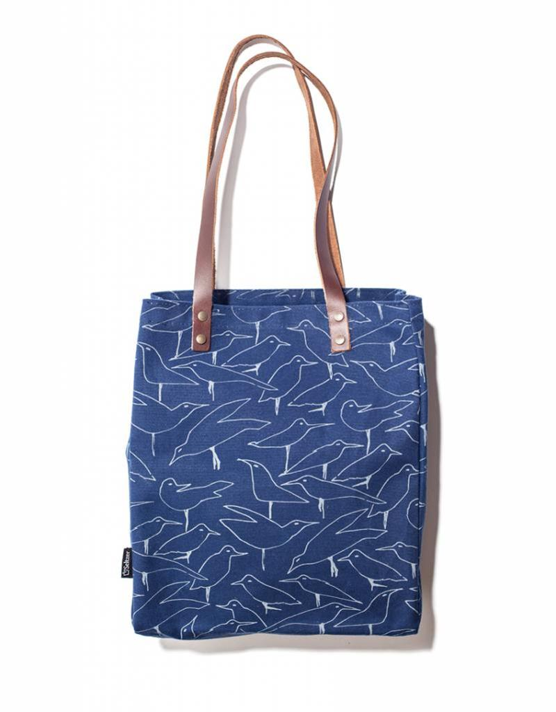 Tote with leather handles