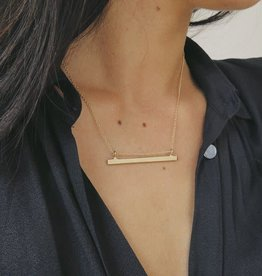 Lisbeth Small Bar Necklace, GOLD or SILVER