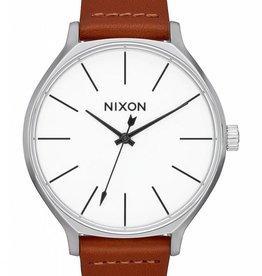 NIXON Clique Leather, Silver/Brown