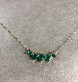 LEAH ALEXANDRA SUNNY necklace, GREEN ONYX, 14k gold