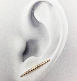 FAB Accessories jj+rr Pave Bar ear crawler with Cubic stones, GOLD