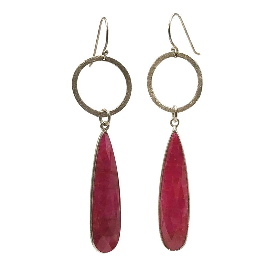Large Teardrop Ruby Earrings