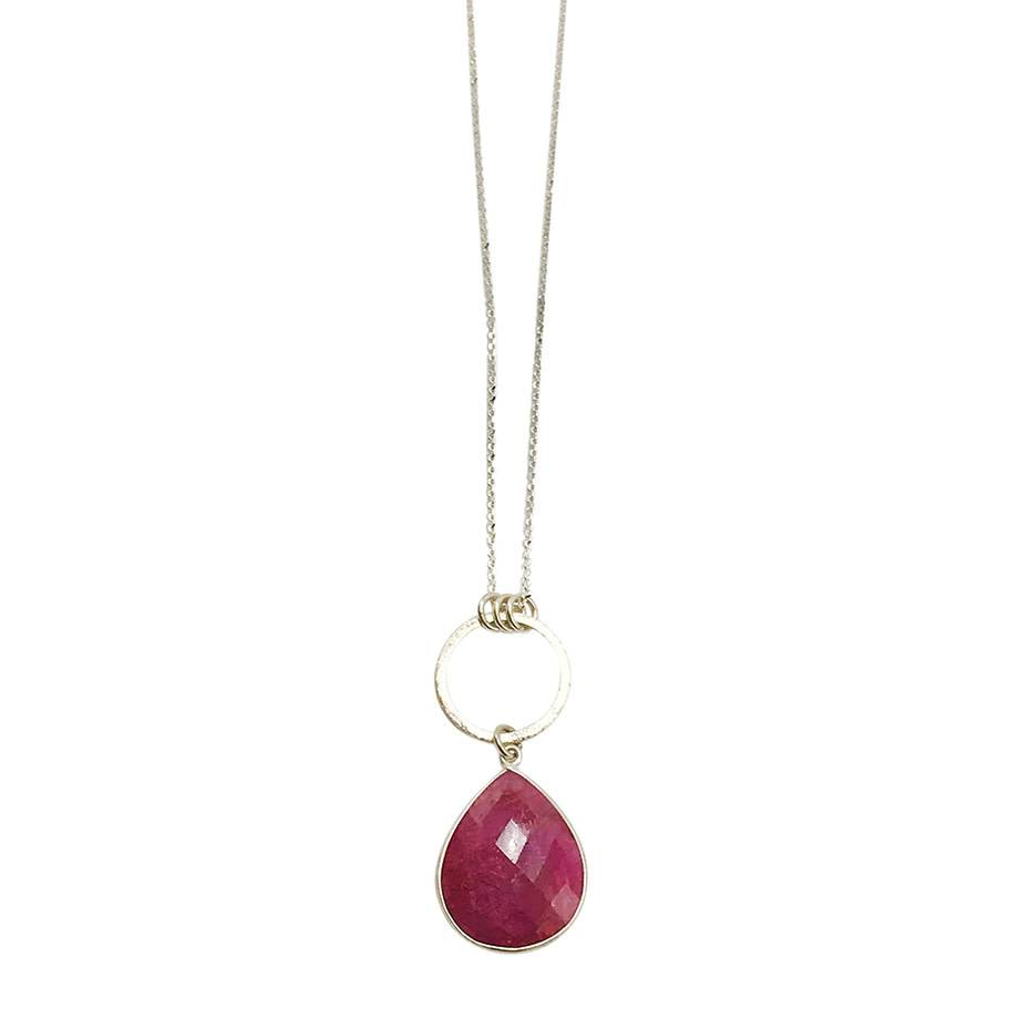 Large Ruby Drop Necklace