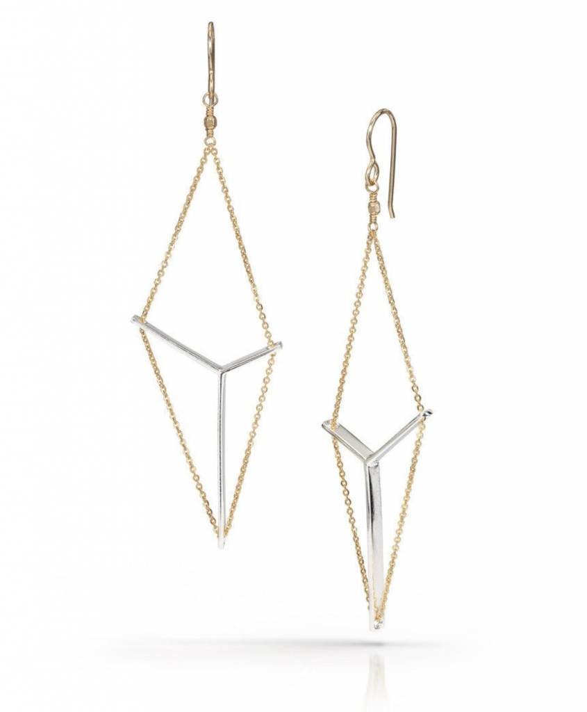 Silver and Goldtone Sail Earrings