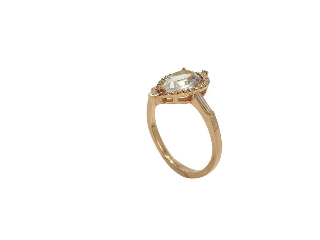 Pear Aquamarine Diamond Ring