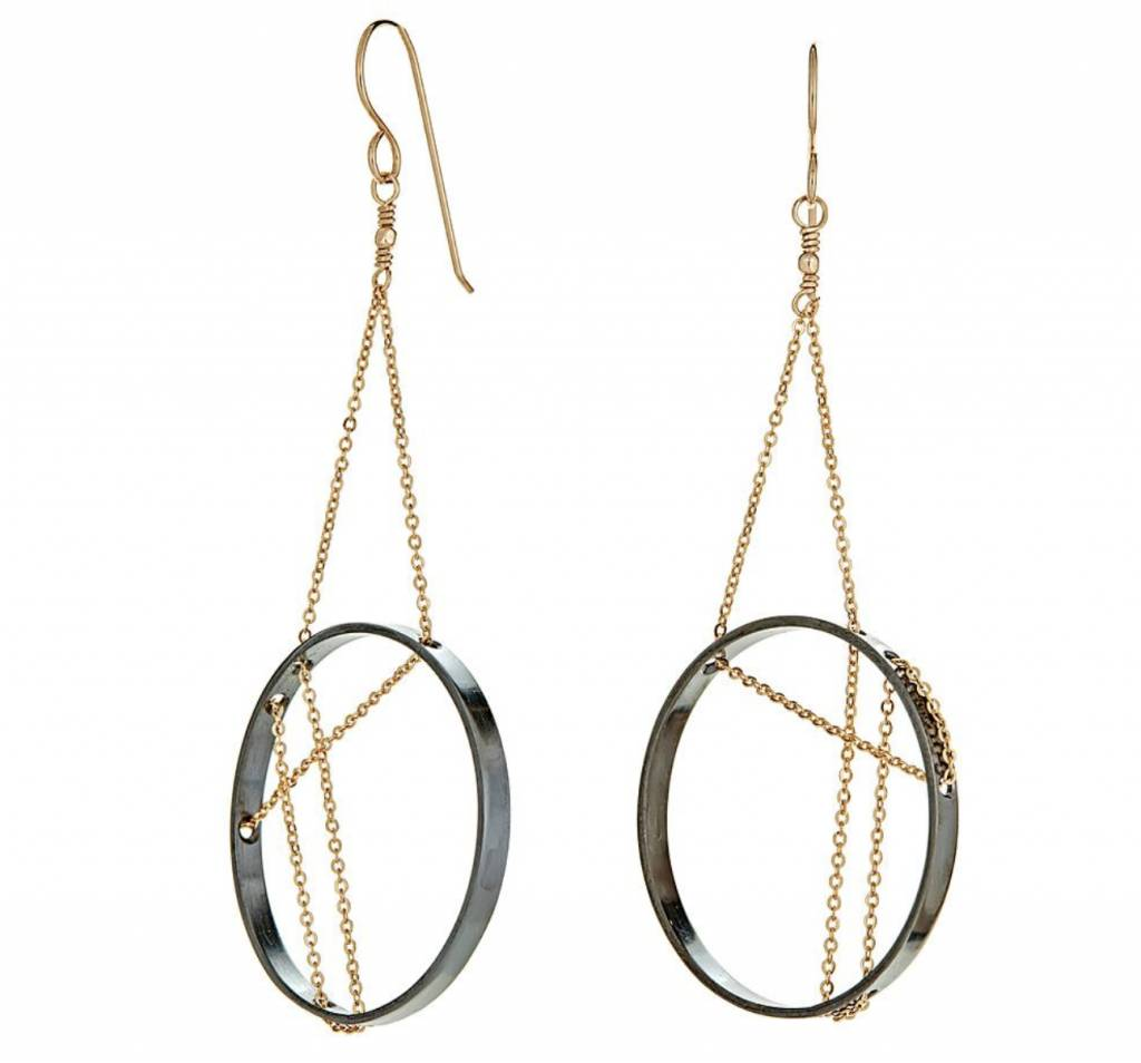 Vitruvia Earrings / Oxidized Sterling Silver and Gold Filled