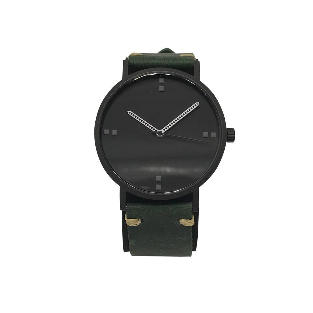 Modern Black Green Leather Watch