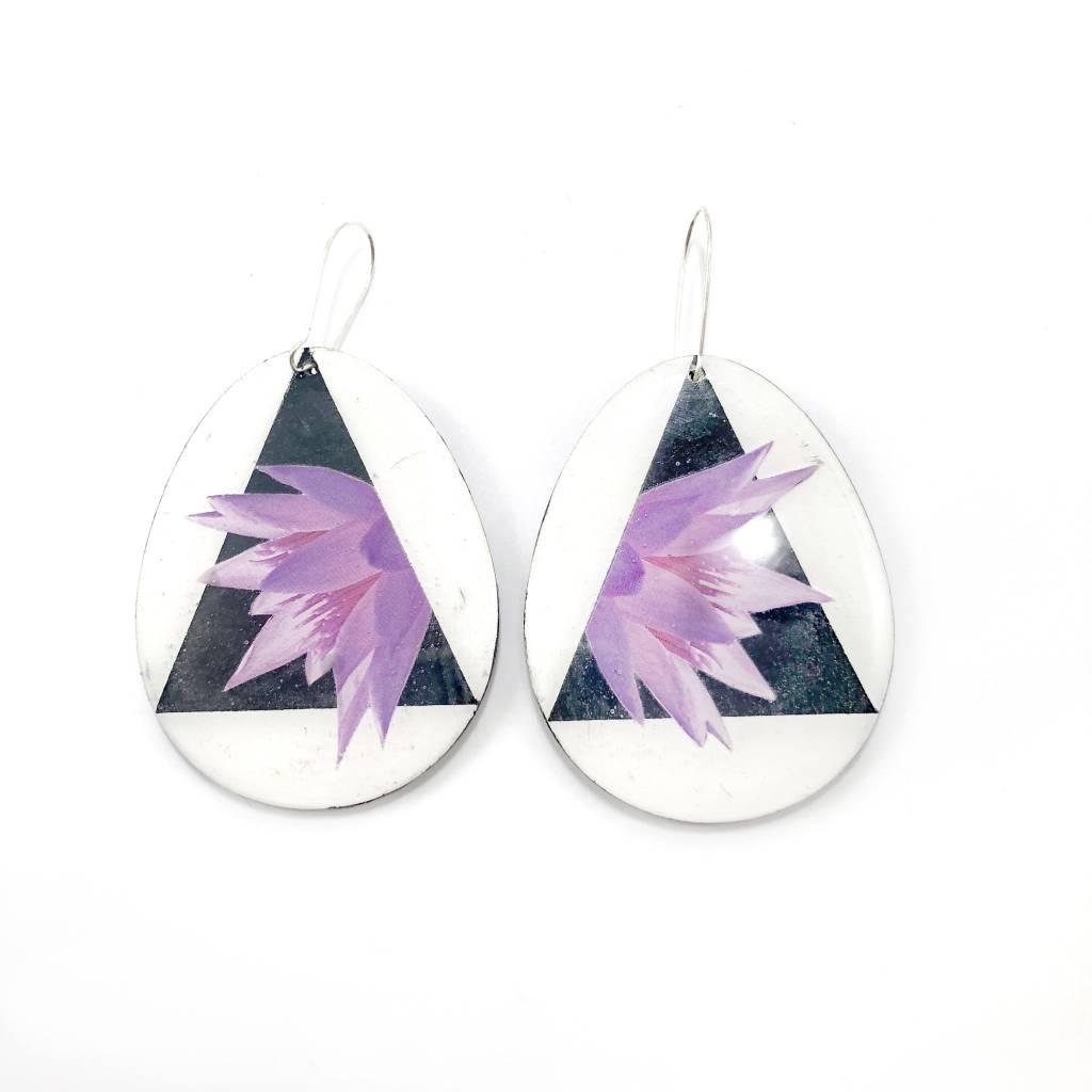 Geo Teardrop Earrings-Purple Floral