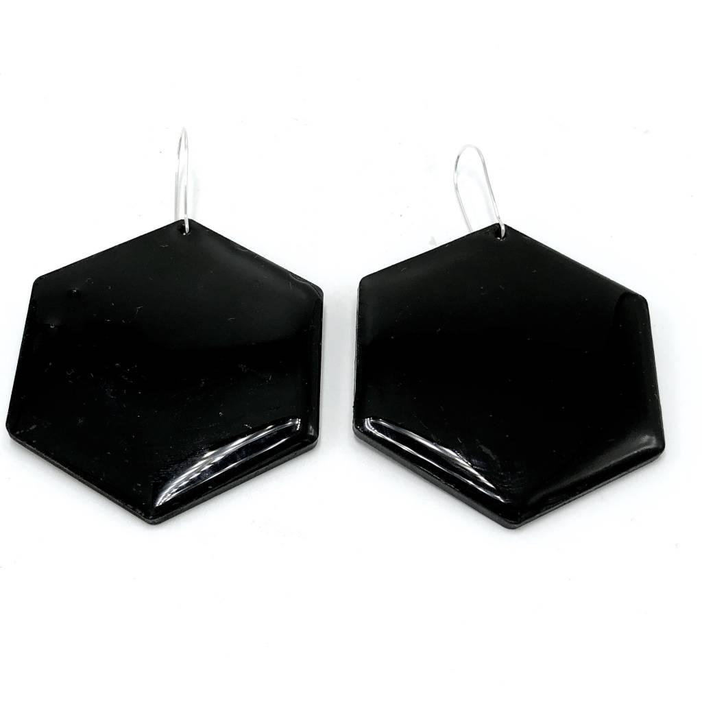 Geo Black Earrings