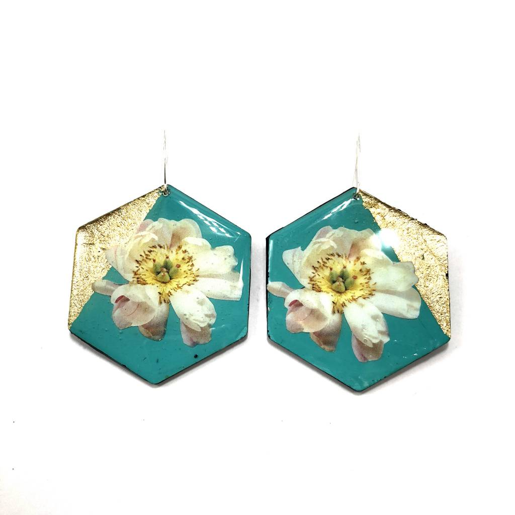 Geo Floral Earrings-Teal & Gold