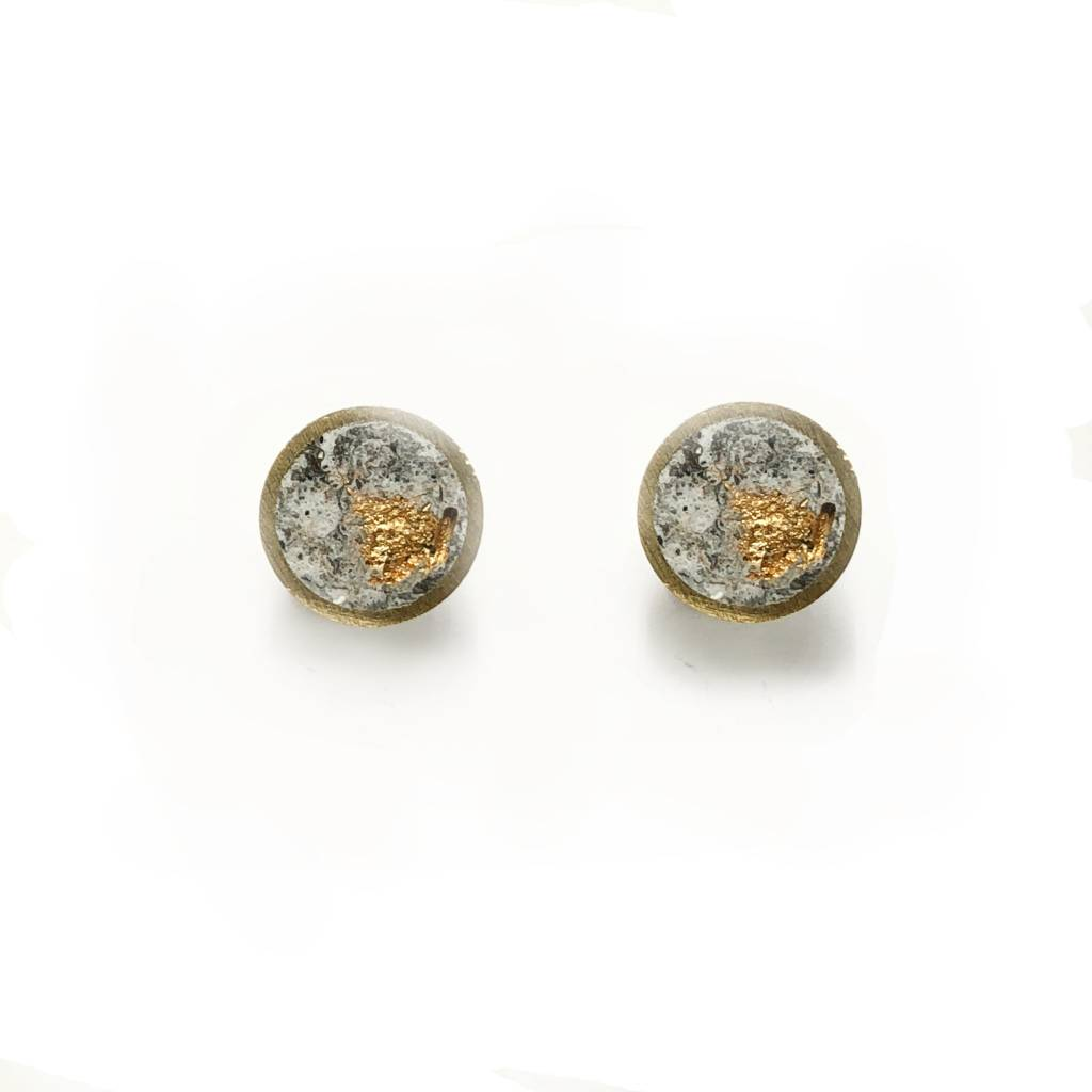Marble Brass Stud Earrings-Gold
