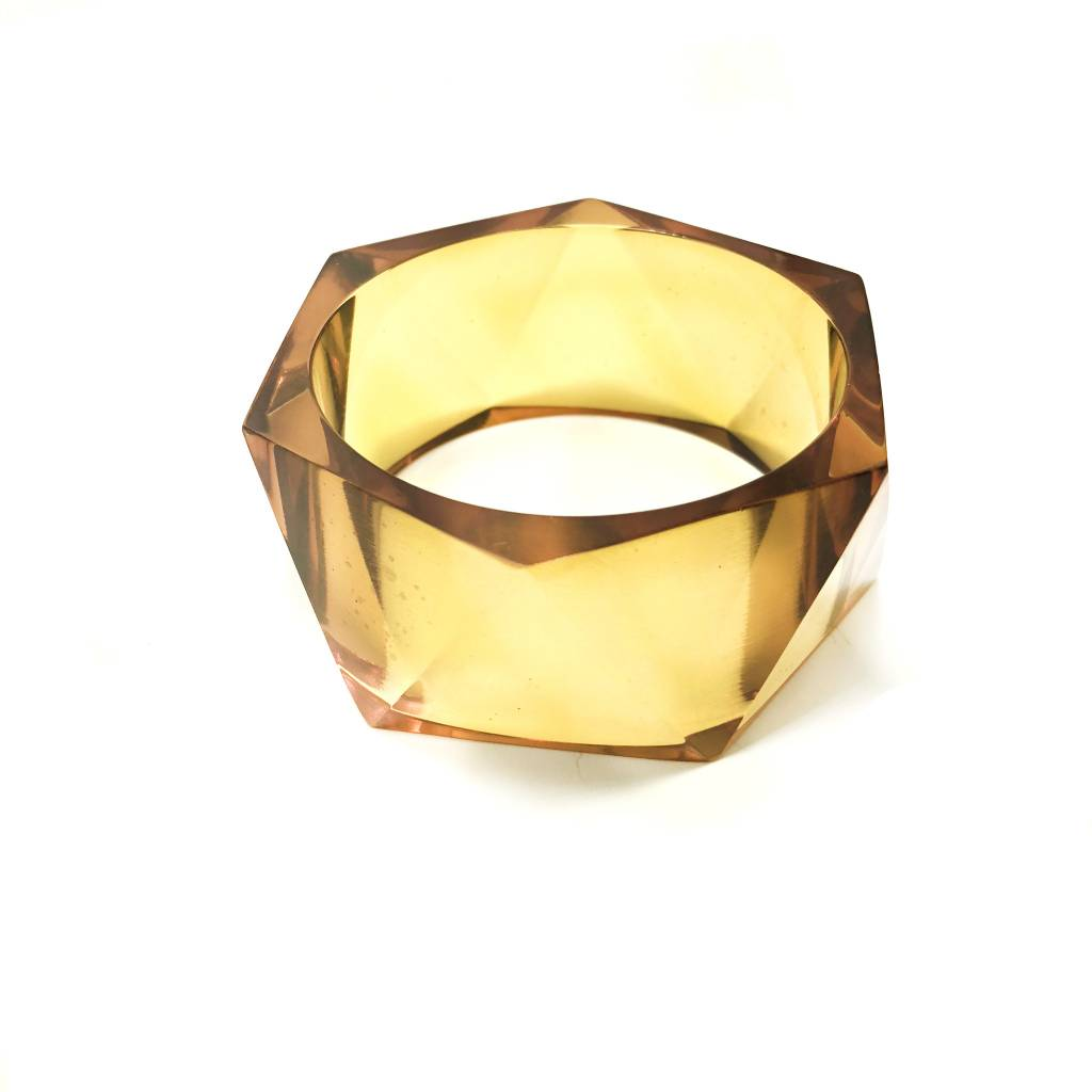 Amber Lucite Faceted Bangle