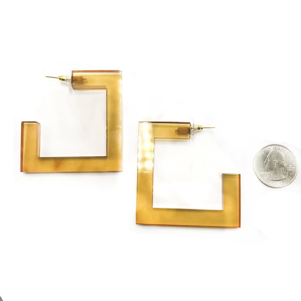 Lucite Square Hoop Earrings