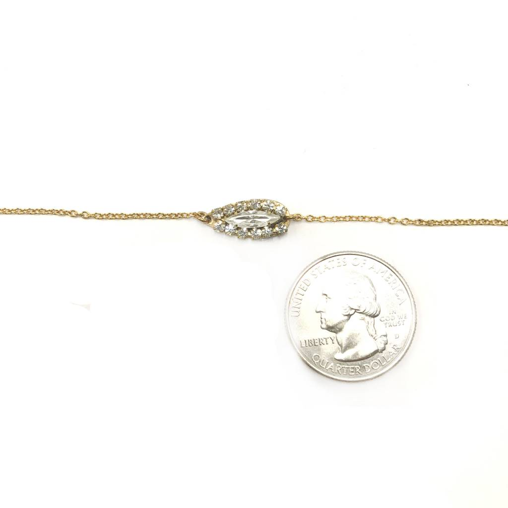 Delicate Bracelet with Brass Teardrop with Marquis Crystal Surrounded by 8 small Crystals