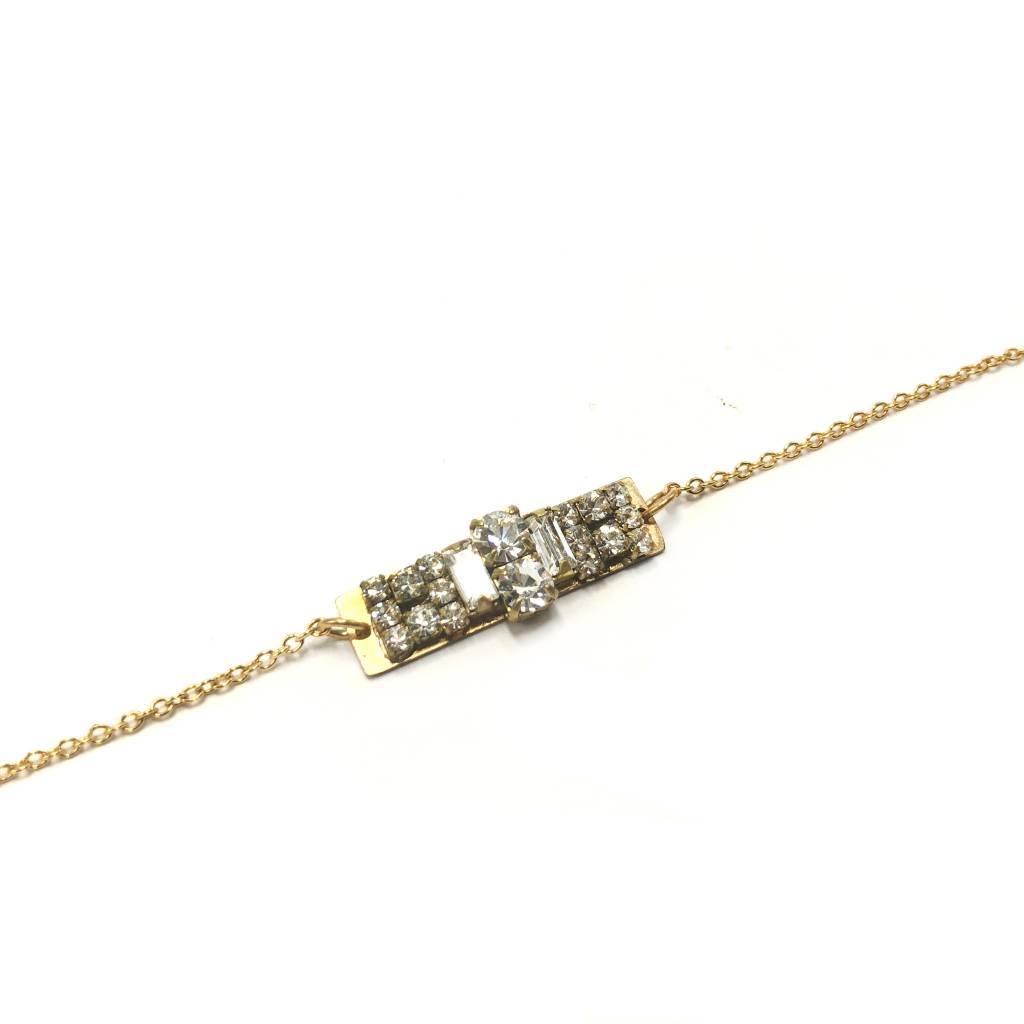 Crystal & Brass Art Deco Bar Bracelet