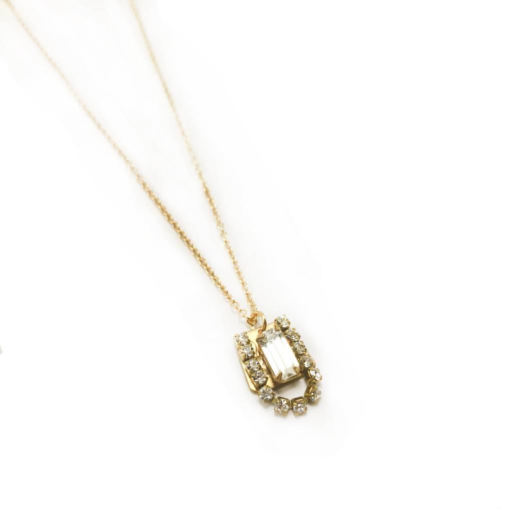 "Brass Crystal ""U"" Pendant"