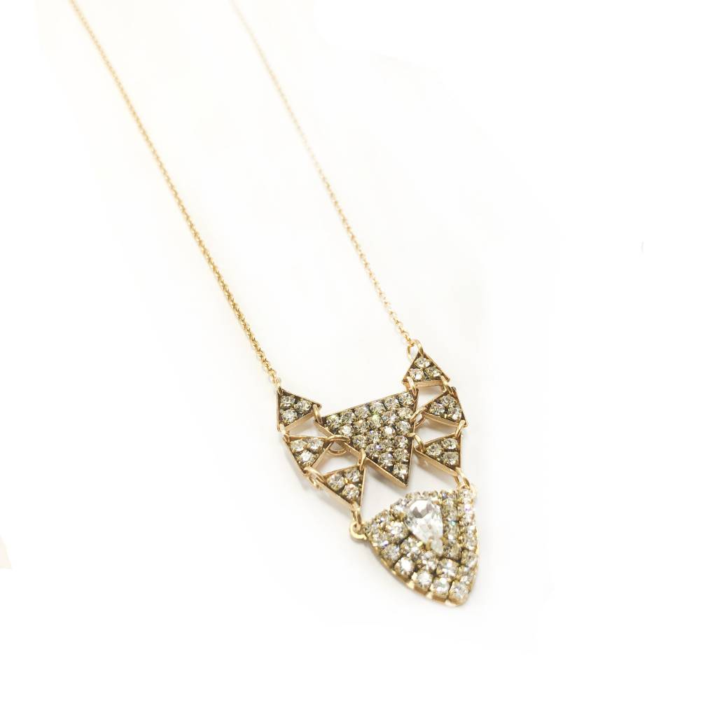 Art Deco Brass & Crystal Triangle Necklace