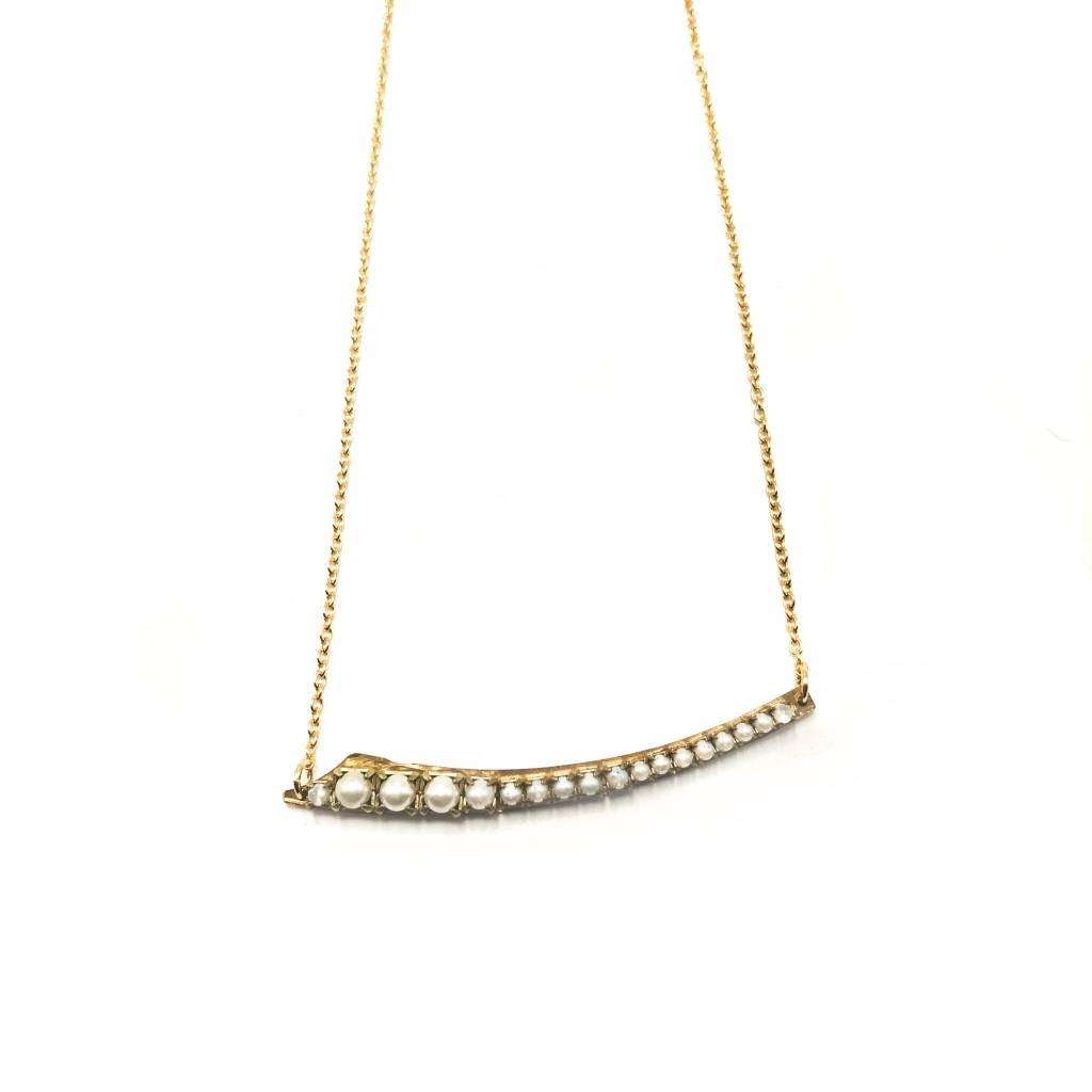 Pearl & Brass Curved Bar Pendant
