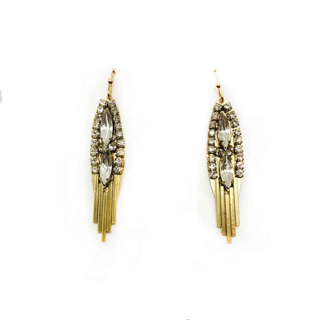 Gold Crystal Wing Earrings