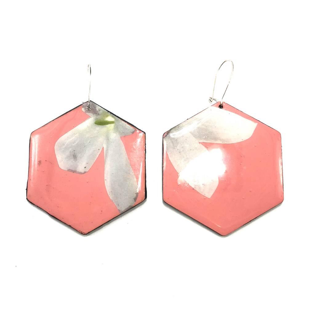 Geo Floral Earrings- Pink & White