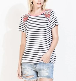 THML DRU Embroidered Shoulder Striped Top