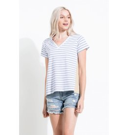THML HALLE Striped V-Neck Tee