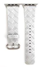 Braided Metallic Silver Apple Watch Band