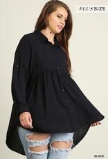 UMGEE SKY Hi Lo Plus Size Button Up Tunic