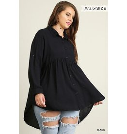 UMGEE SKY Hi Lo Plus Size Button Up Tunic