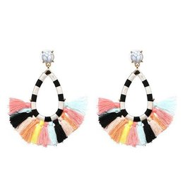 JULIA Striped Tassel Earring-Multi