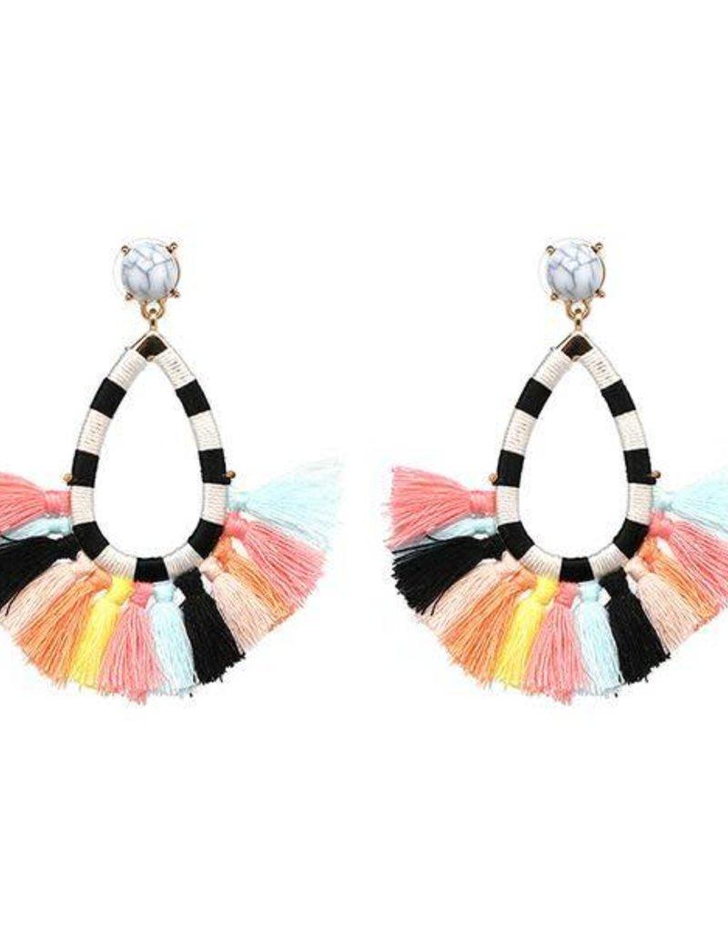 JULIA Striped Tassel Earring-Multi