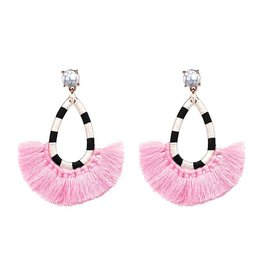 Jujia JULIA Striped Tassel Earring- Pink