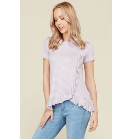 Flamingo Urban TRISH Striped Ruffle Short Sleeve Tee