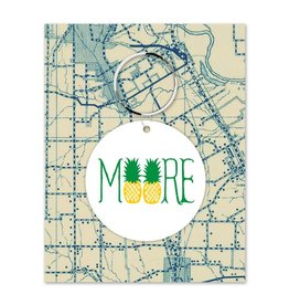 Rock Scissor Paper MOORE Pineapple Key Chain