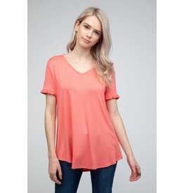12 PM by Mon Ami CANDY Tee with Ruffle Sleeve