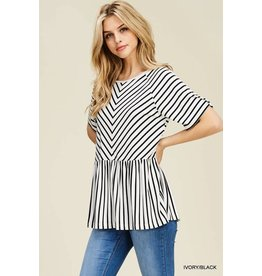 Jodifl PEPPY Striped Peplum Top