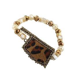Your Fashion Wholesale LEOPARD OK Stretch Bracelet