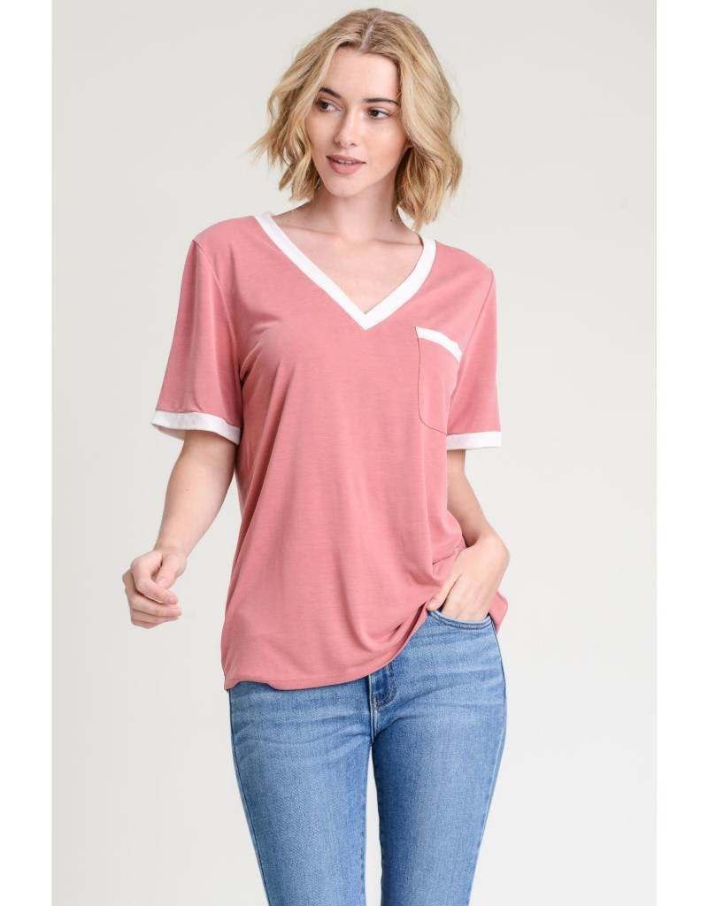 Jodifl MOSLEY V-Neck Contrast Tee