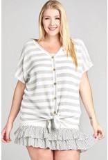Oddi JESSICA Plus Size Knit V-Neck Top