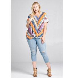 Oddi KADRIAN Plus Size Striped Top