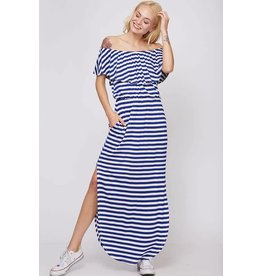 Fantastic Fawn KATY Royal Blue Striped Off the Shoulder Maxi