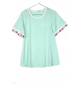P.S. Kate GAME CHANGER Striped Tassel Tee