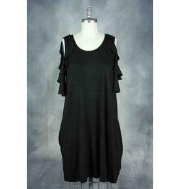 P.S. Kate SHEILA Black Cold Shoulder Dress