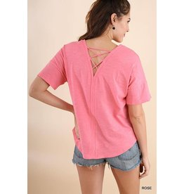 UMGEE ROSE Basic Tee with Lace Up Back