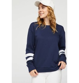 12 PM by Mon Ami VARSITY White Striped Long Sleeve Sweater
