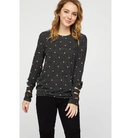 12 PM by Mon Ami DOTTY Cut-Out Long Sleeve Polka-Dot Sweater