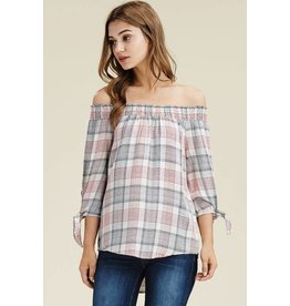 Staccato KATIE Plaid Off-the-Shoulder Top