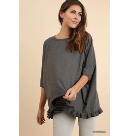 CALLIE Charcoal Half Sleeve High Low Top